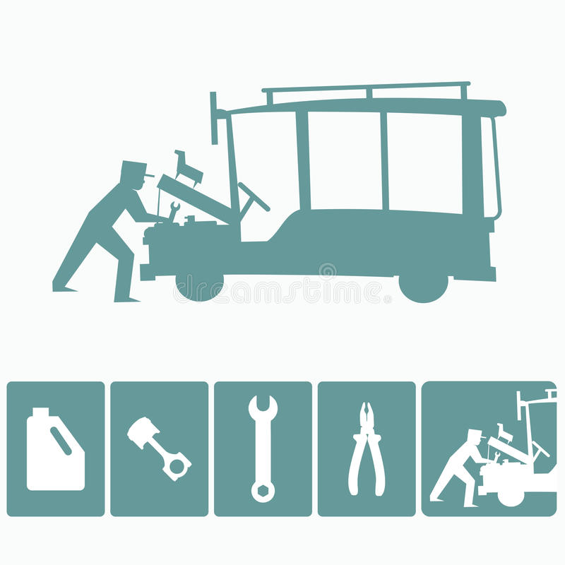 Philippine jeepney mechanic and tools stock illustration