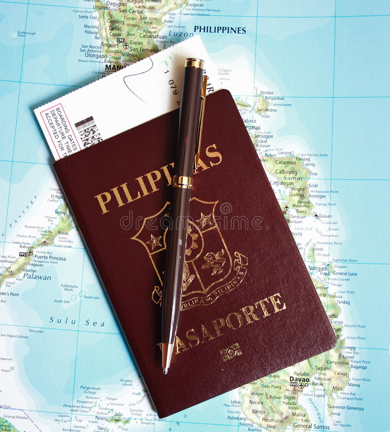 Philippine passport in Philippines map background stock photography