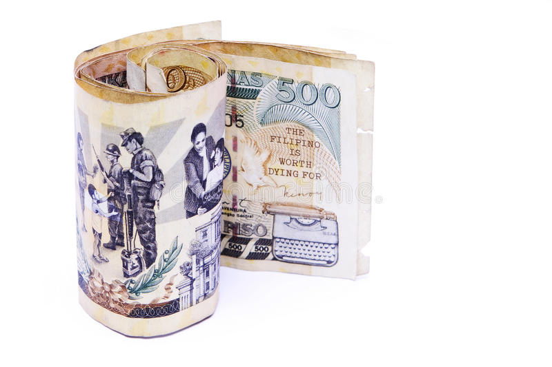 Philippine Peso. A Roll of 500 philippine peso notes royalty free stock image