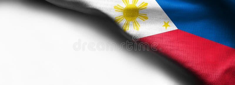 Philippine waving flag on white background. Right corner flag stock photos