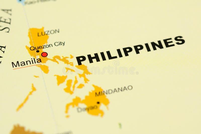 Philippinen auf Karte stockfotografie