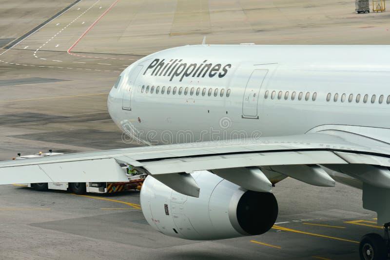 Philippinen-Fluglinien Airbus 330 bereit zur Abfahrt stockfotos