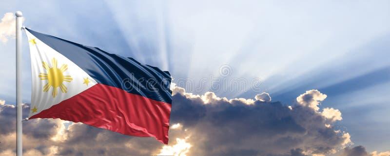 Philippinen kennzeichnen auf blauem Himmel Abbildung 3D vektor abbildung