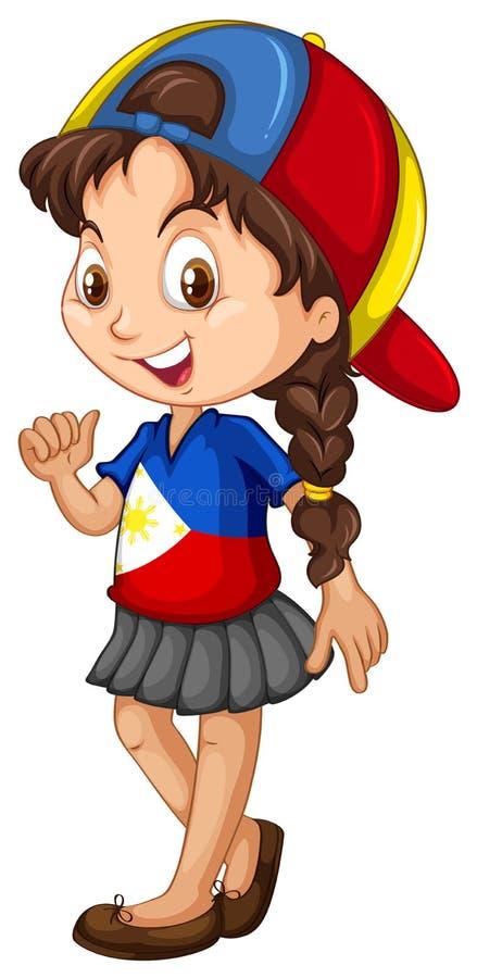 Philippinen-Mädchen, das eine Kappe trägt stock abbildung