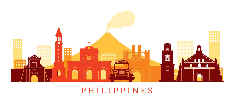 Philippines Architecture Landmarks Skyline, Shape stock illustration
