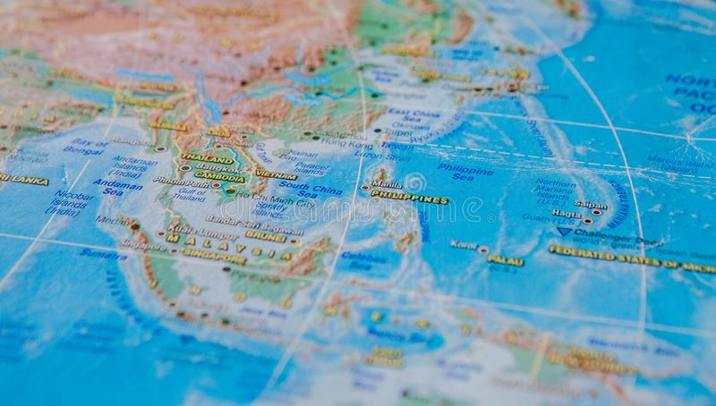 Philippines, Cambodia, Vietnam in close up on the map. Focus on the name of country. Vignetting effect.  royalty free stock image