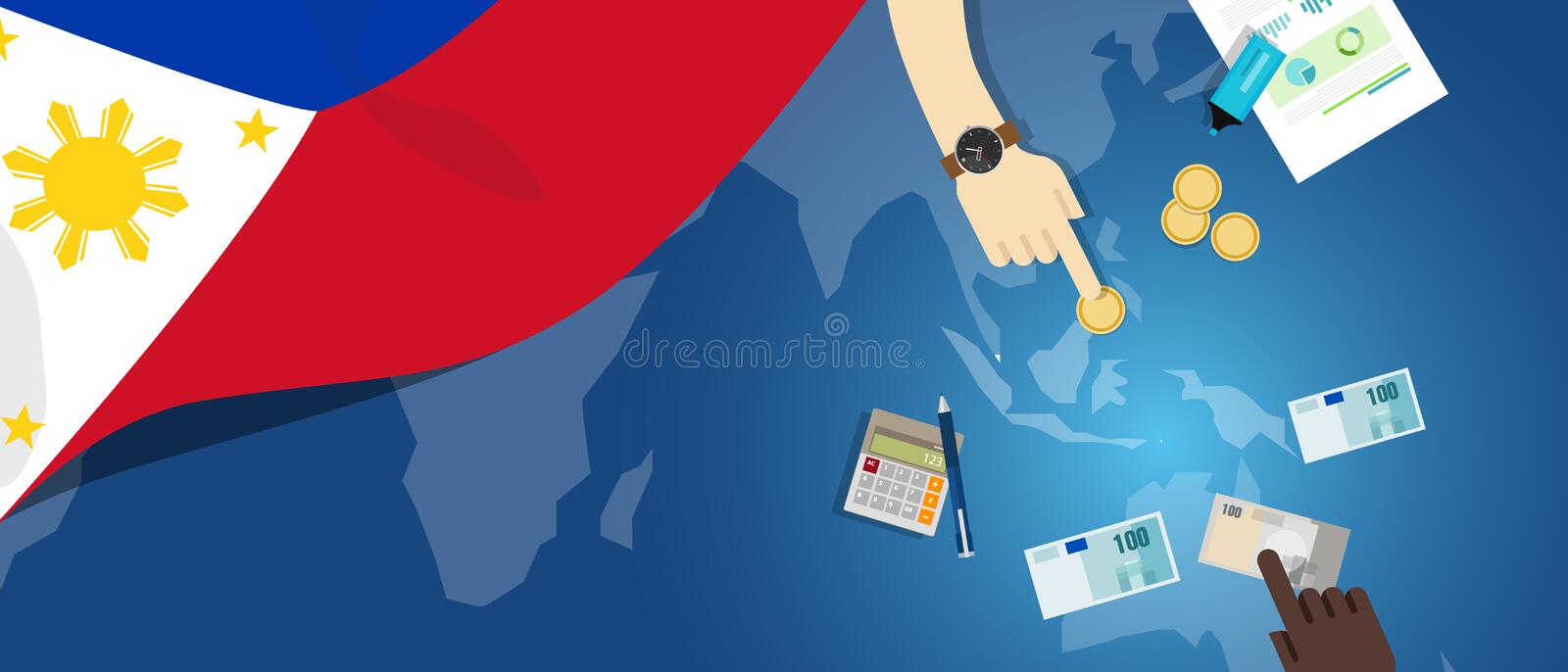 Philippines economy fiscal money trade concept illustration of financial banking budget with flag map and currency. Vector royalty free illustration