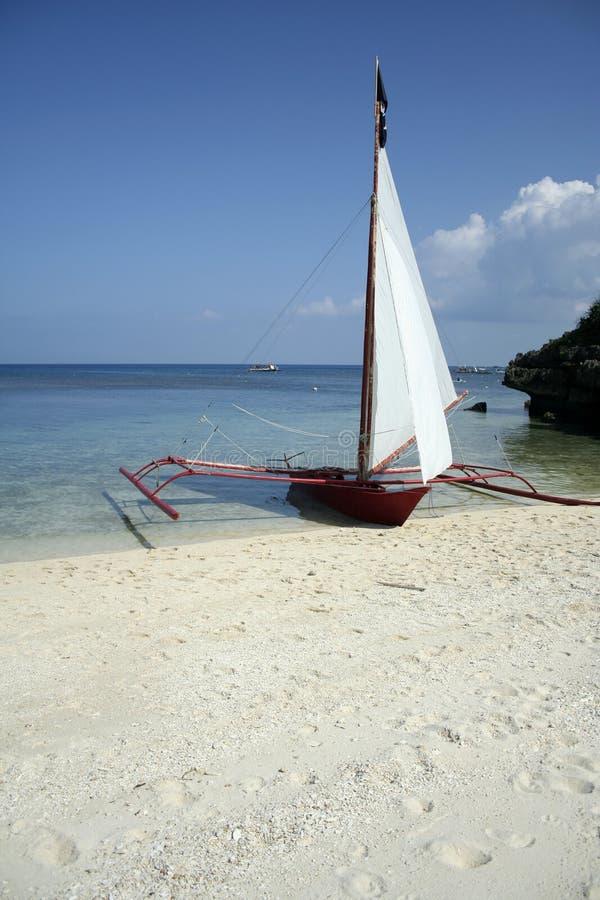 philippines för strandfartygboracay paraw segla royaltyfri fotografi