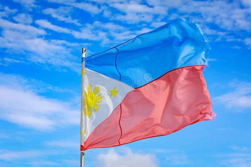 Philippines flag waving in the sky stock images