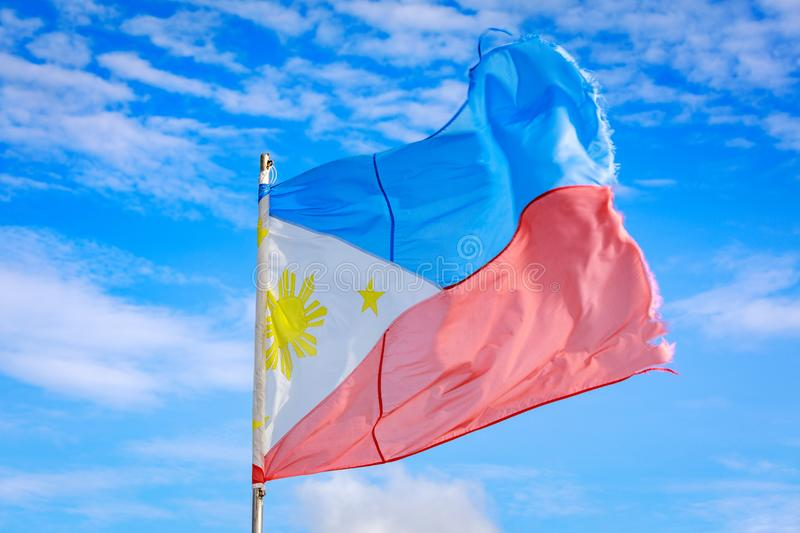 Philippines flag waving in the sky stock photo