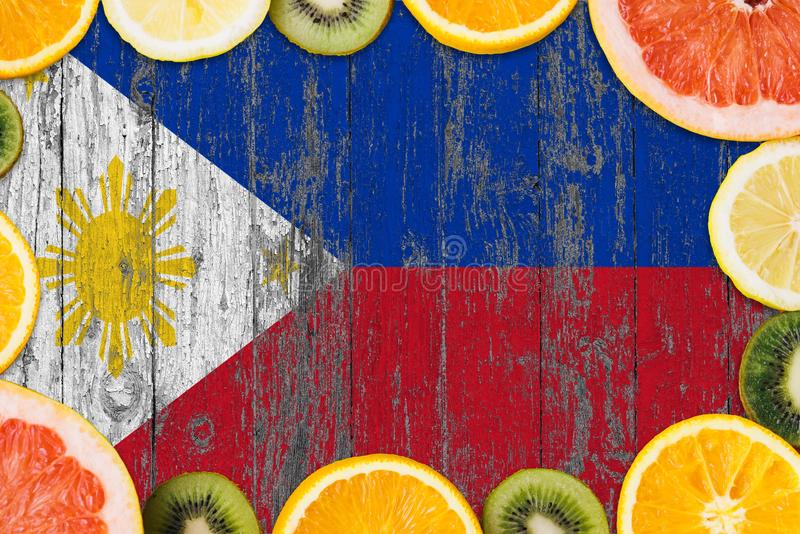 Philippines food concept. Fresh fruits from traditional gardens. Cooking concept on wooden flag background stock photo