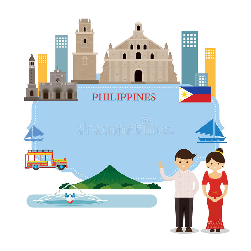 Philippines Landmarks, People in Traditional Clothing, Frame royalty free illustration