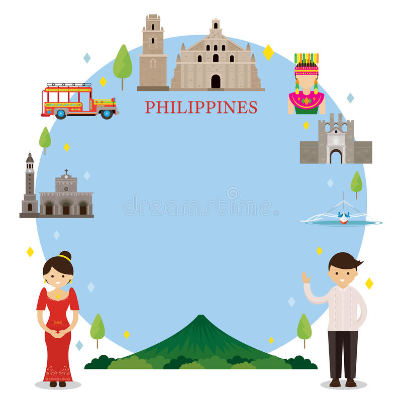 Philippines Landmarks, People In Traditional Clothing, Frame Stock ...