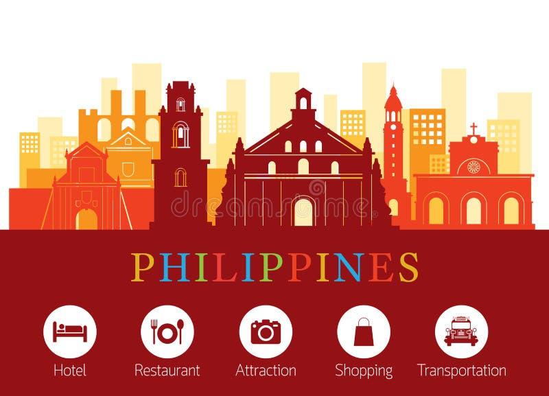 Philippines Landmarks Skyline with Accommodation Icons stock illustration