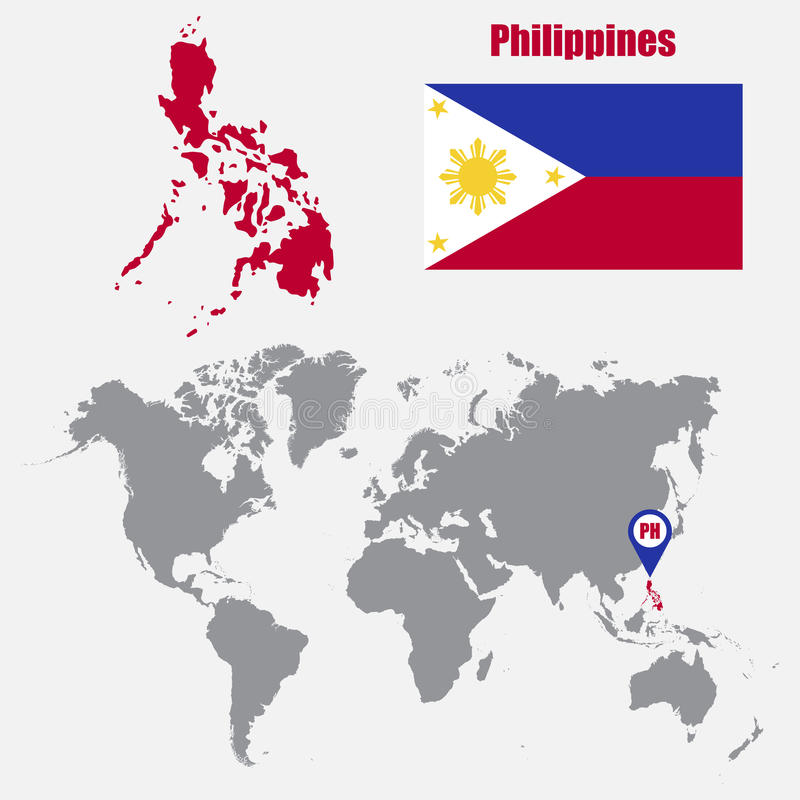 Philippines map on a world map with flag and map pointer vector download philippines map on a world map with flag and map pointer vector illustration stock gumiabroncs