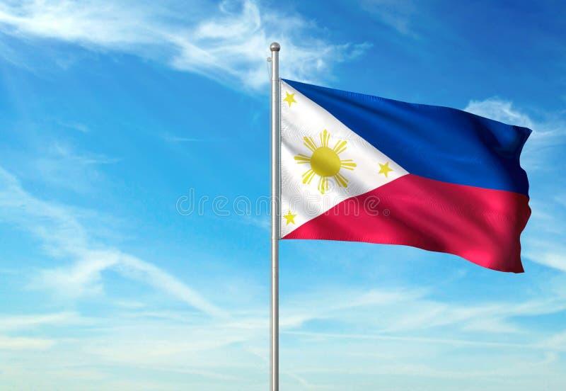 Philippines marquent l'ondulation avec le ciel sur l'illustration 3d réaliste de fond illustration de vecteur