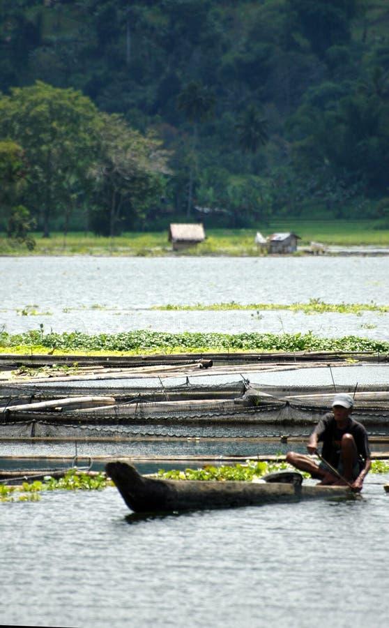 Philippines, Mindanao, pêcheur de Sebu de lac image libre de droits