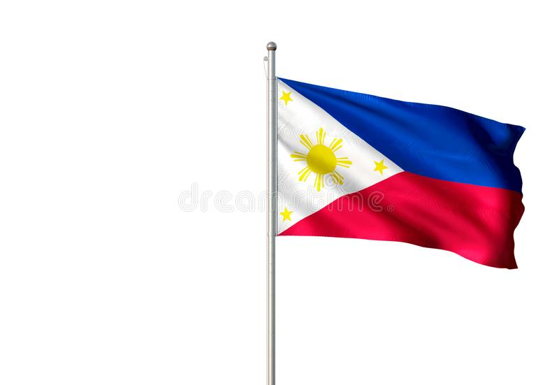 Philippines national flag waving isolated white background realistic 3d illustration. Philippine national flag realistic single waving white background 3d vector illustration