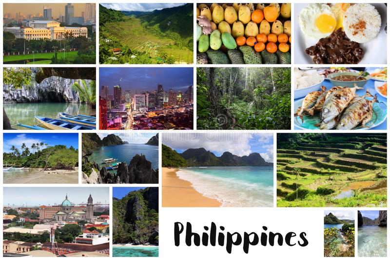 Philippines post card. Philippines postcard - travel place landmark photo collage royalty free stock photos