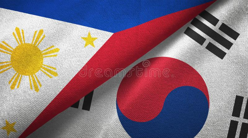 Philippines and South Korea two flags textile cloth, fabric texture stock illustration