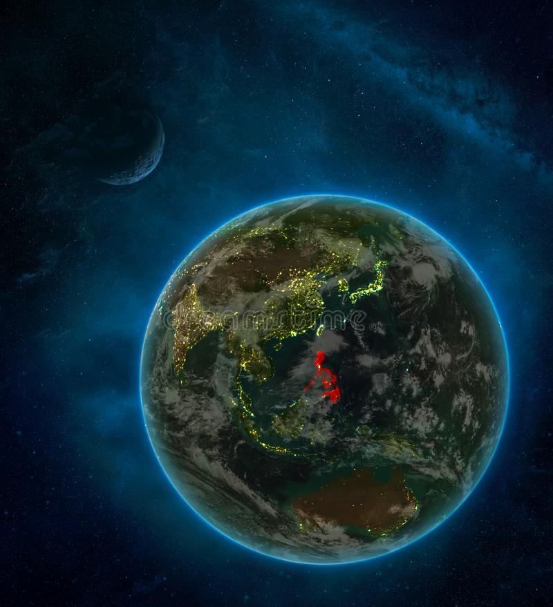 Philippines from space on Earth at night surrounded by space with Moon and Milky Way. Detailed planet with city lights and clouds. 3D illustration. Elements of royalty free illustration