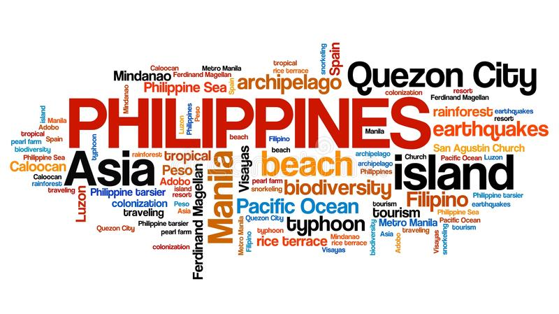 Philippines. Tag cloud illustration. Country word collage stock illustration