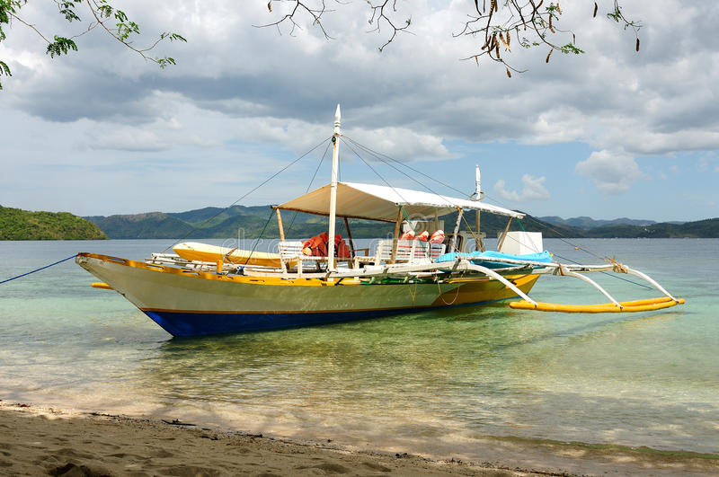 Philippines tent boat in crystal tropical sea royalty free stock images