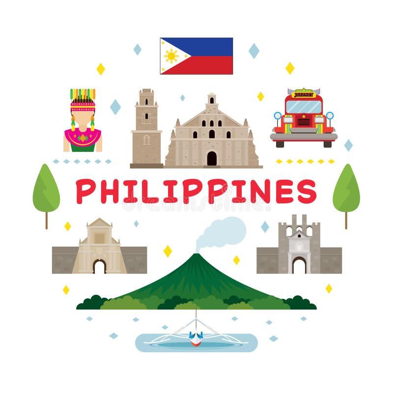 Philippines Travel Attraction Label stock illustration