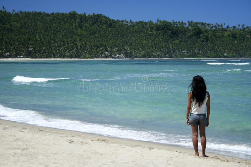Philippines tropical beach girl wild coastline stock images