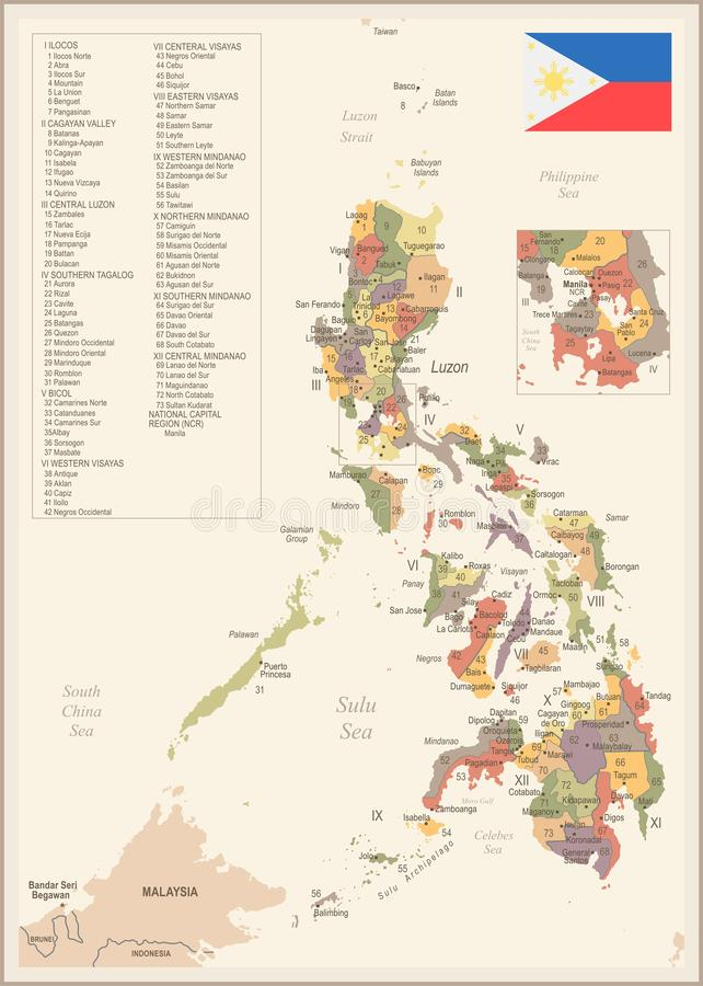 Philippines Map - Detailed Vector Illustration Stock