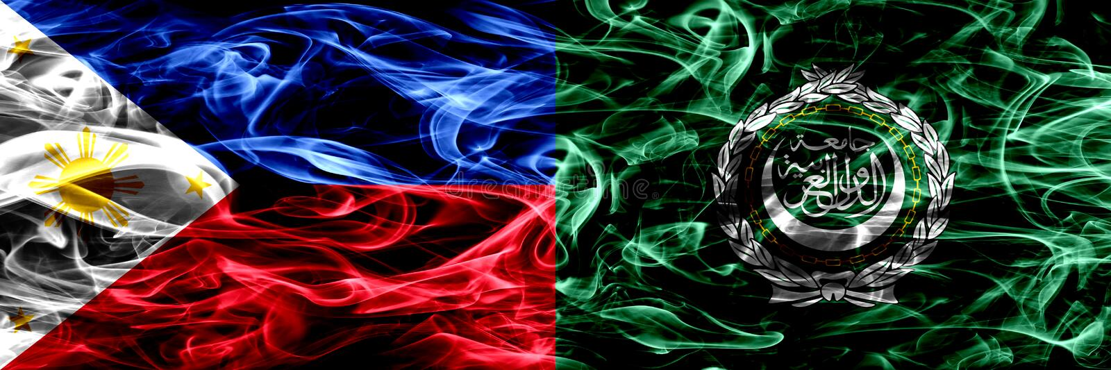 Philippines vs Arab League smoke flags placed side by side. Thick abstract colored silky smoke flags. royalty free stock photography
