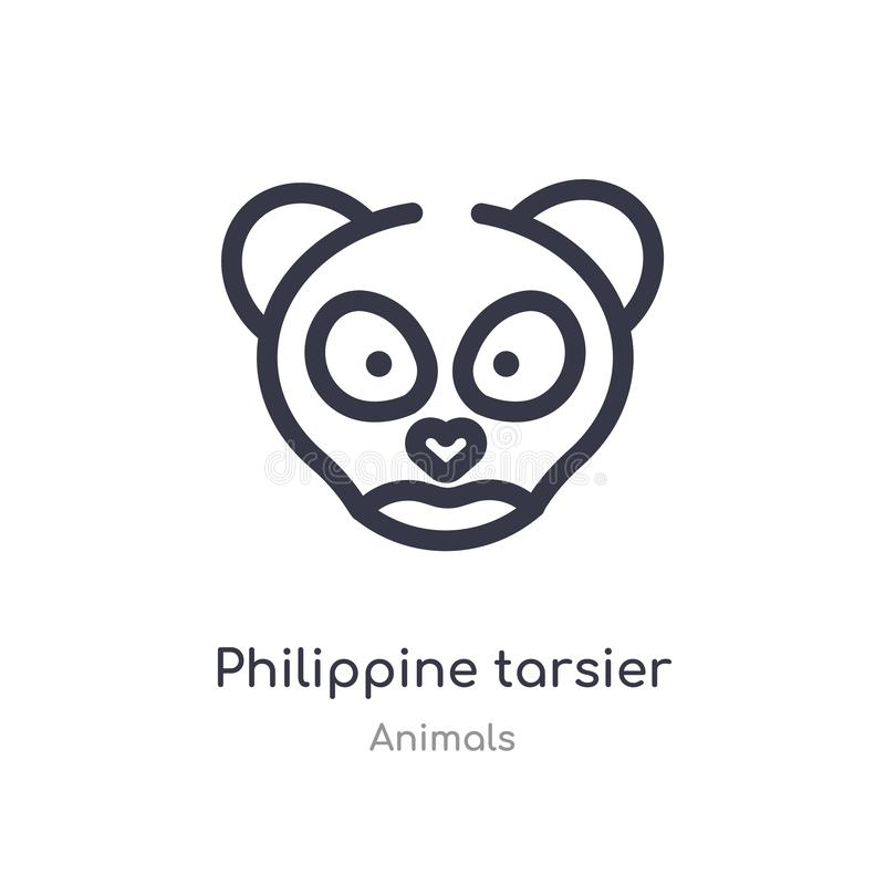 philippinische tarsier Entwurfsikone lokalisierte Linie Vektorillustration von der Tiersammlung editable Haarstrich philippinisch lizenzfreie abbildung