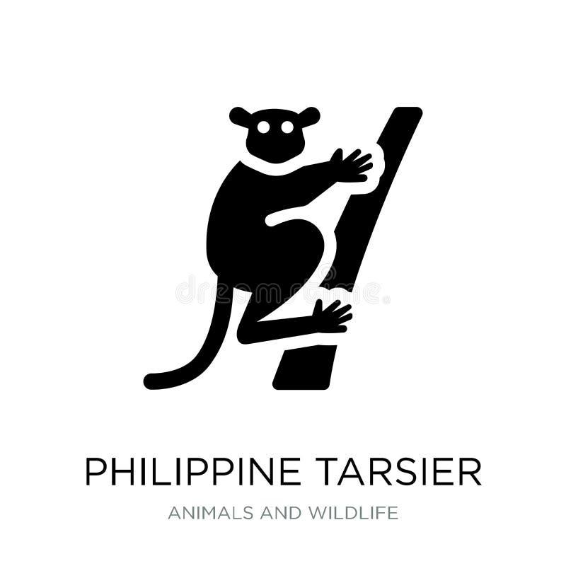 philippinische tarsier Ikone in der modischen Entwurfsart philippinische tarsier Ikone lokalisiert auf weißem Hintergrund philipp lizenzfreie abbildung