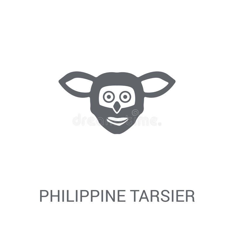 Philippinische tarsier Ikone Modisches philippinisches tarsier Logokonzept stock abbildung