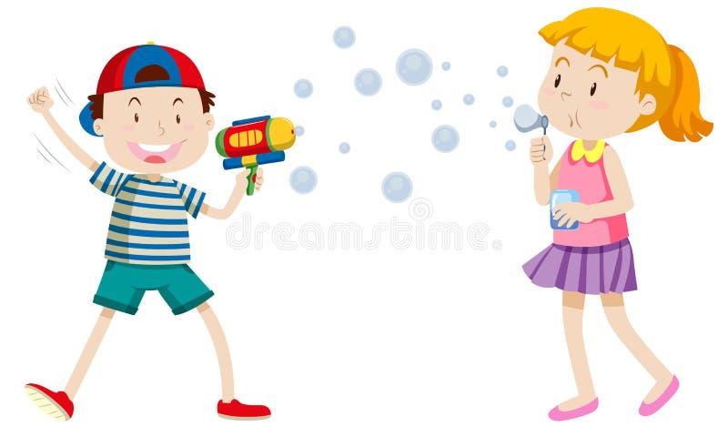 Philippino barn som spelar med bubblor royaltyfri illustrationer