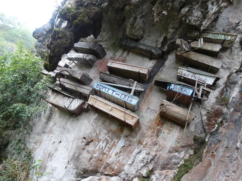 Hanging Coffins of Sagada, Philippines royalty free stock photography