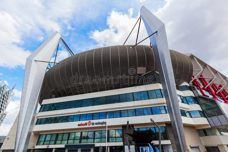 Philips Stadion in Eindhoven, Netherlands. Eindhoven, Netherlands - April 12, 2016: Philips Stadion in Eindhoven. It is a football stadium, home of PSV Eindhoven stock image