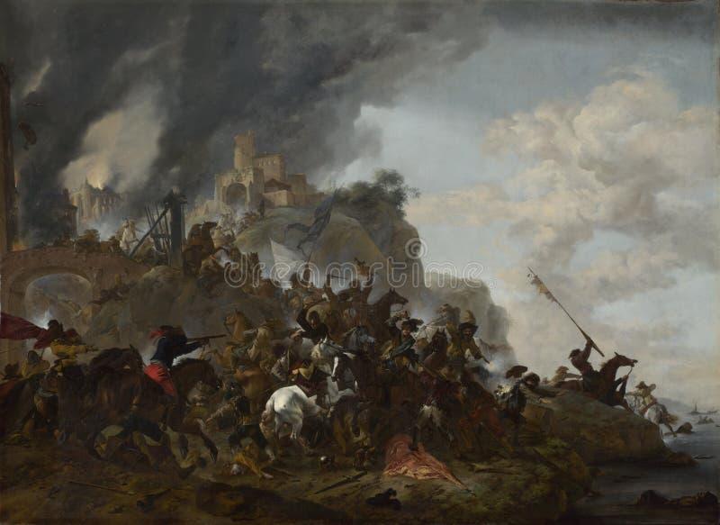 Philips Wouwermans - cavalaria que faz uma manobra de um forte em um monte ilustração stock