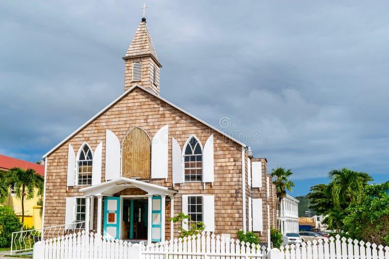 Philipsburg metodistkyrka på Front Street i Sint Maarten royaltyfri bild