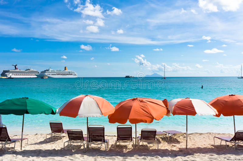 Philipsburg, Saint Martin, Carribean Islands. Beautiful beach in Philipsburg, Saint Martin, Carribean Islands royalty free stock images