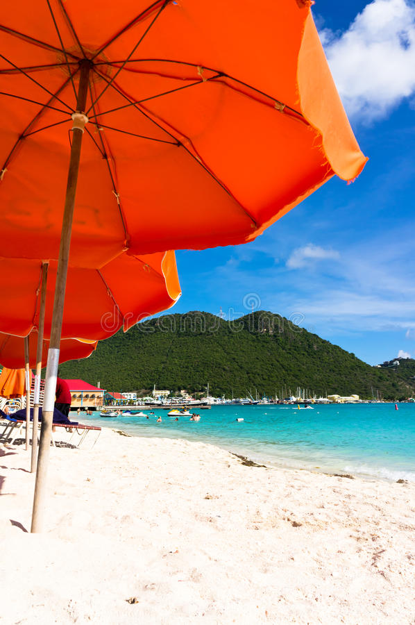 Philipsburg, Saint Martin, Carribean Islands. Beautiful beach in Philipsburg, Saint Martin, Carribean Islands royalty free stock photography