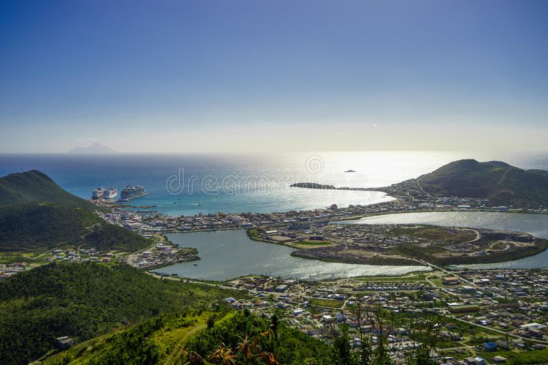 PHILIPSBURG, SINT MAARTEN - View of the port and beach from the top stock photography