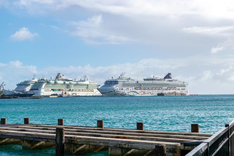 Norwegian NCL Star, Royal Caribbean Jewel and Royal Caribbean Serenade Cruise Ships docked in Philipsburg Sint Maarten stock photos