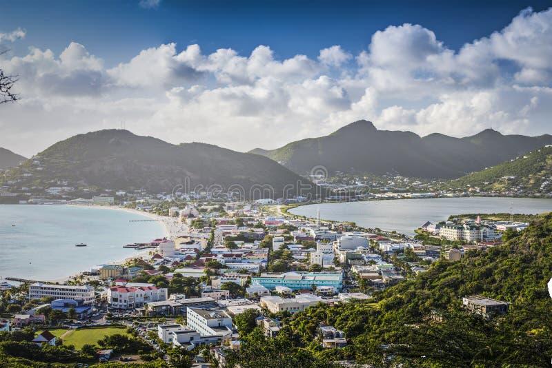 Philispburg, Sint Maarten, Dutch Antilles. Philipsburg, Sint Maarten, Dutch Antilles cityscape at the Great Salt Pond royalty free stock photo
