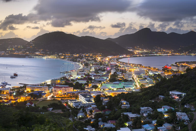 Philispburg, Sint Maarten, Dutch Antilles. Philipsburg, Sint Maaren, Dutch Antilles nighttime townscape at the Great Salt Pond royalty free stock images