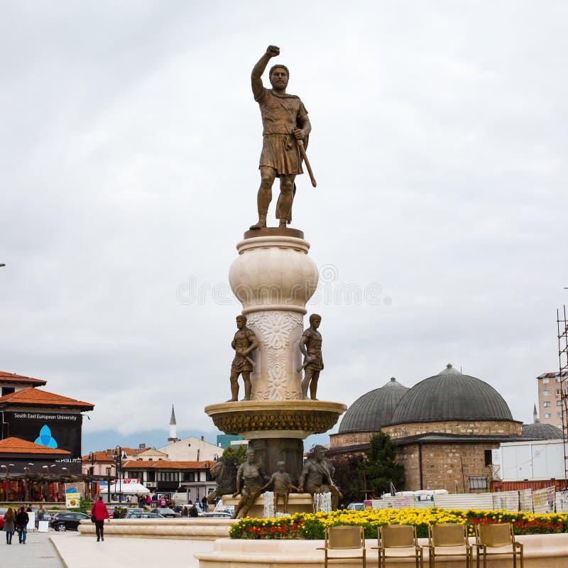 Phillip II av den Macedon statyn och Daut Pasha Hamam royaltyfri bild