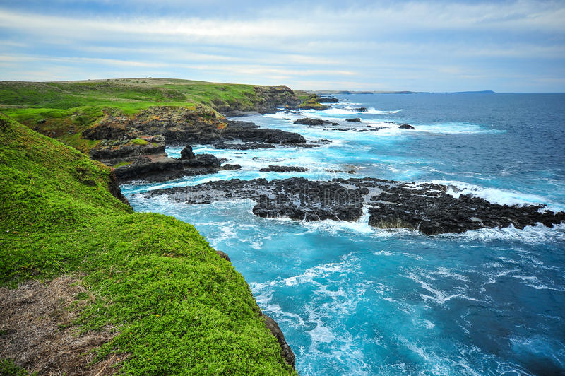 Phillip wyspy obszar przybrzeżny krajobraz Nobbies przegapia fok skały zdjęcie royalty free