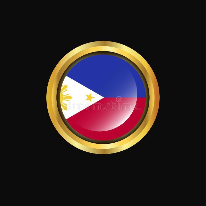 Phillipines flag Golden button vector illustration