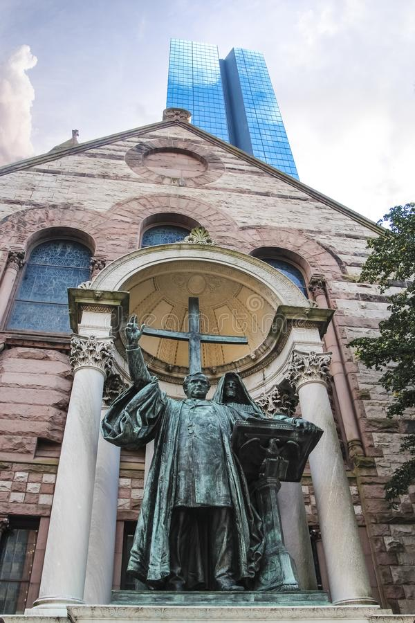 Phillips Brooks statue at Trinity church in Boston Massachusetts stock photo