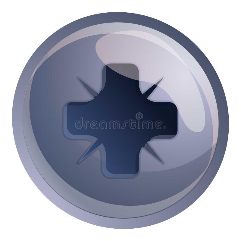 Phillips pozi drive screw icon, cartoon style. Phillips pozi drive screw icon. Cartoon of phillips pozi drive screw vector icon for web design isolated on white stock illustration